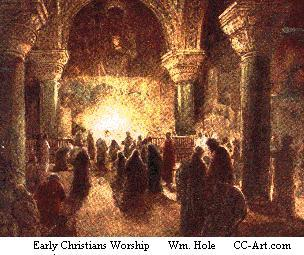 Early Christians at worship in the Eucharist, a faint  